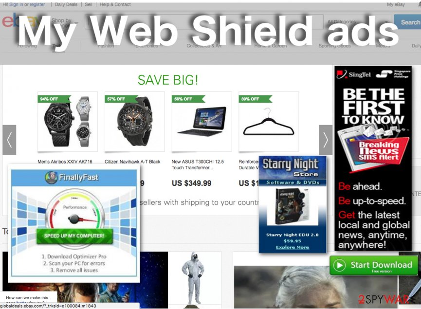 Example of the My Web Shield ads