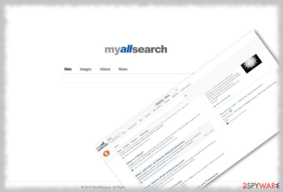 MyAllSearch homepage and associated sites