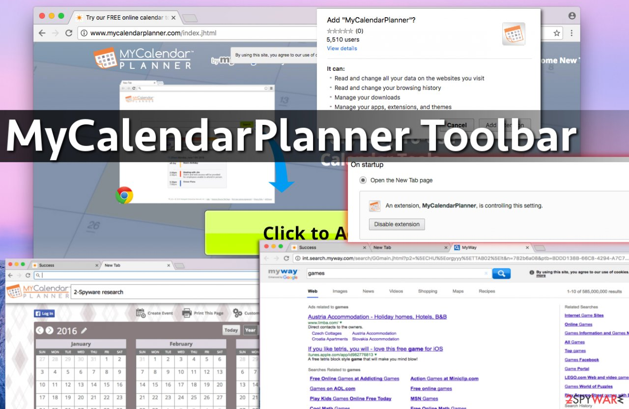 Screenshots of MyCalendarPlanner Toolbar