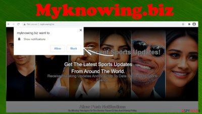 Myknowing.biz pop-up