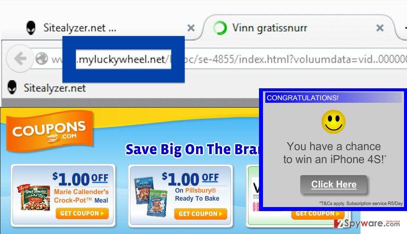 The example of Myluckywheel.net ads