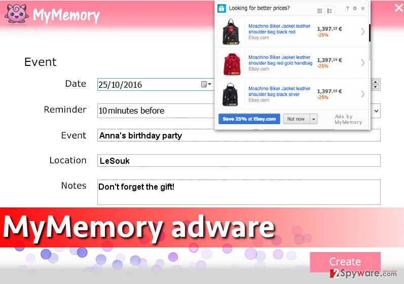 Screenshot of MyMemory virus