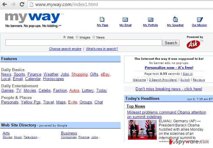 MyNewsGuide Toolbar provides a search engine