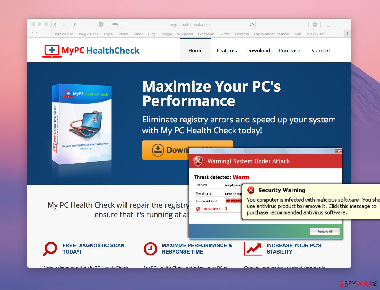 MyPC HealthCheck official website and examples of possible fake alerts