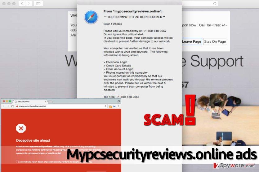 Mypcsecurityreviews.online malware displays phony alerts