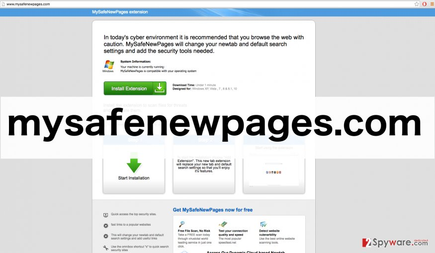 A screenshot of Mysafenewpages.com virus website
