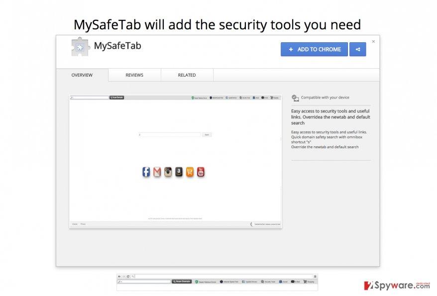 A screenshot of MySafeTab virus