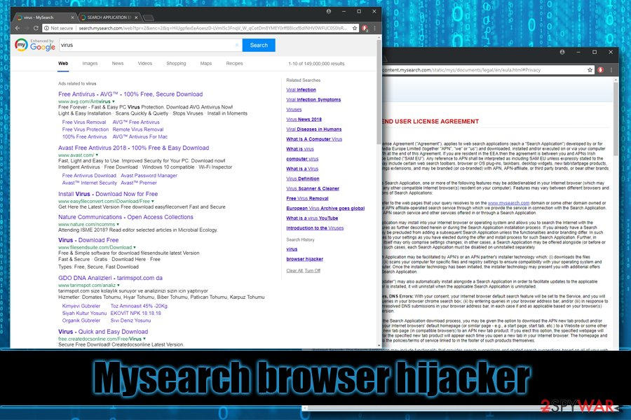 Mysearch browser hijacker