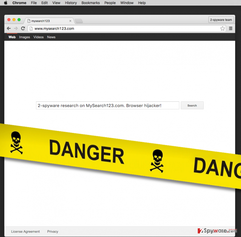 mysearch123.com browser hijacker
