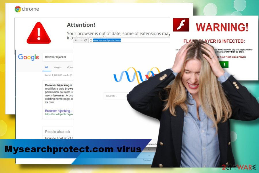 A printscreen of Mysearchprotect.com virus
