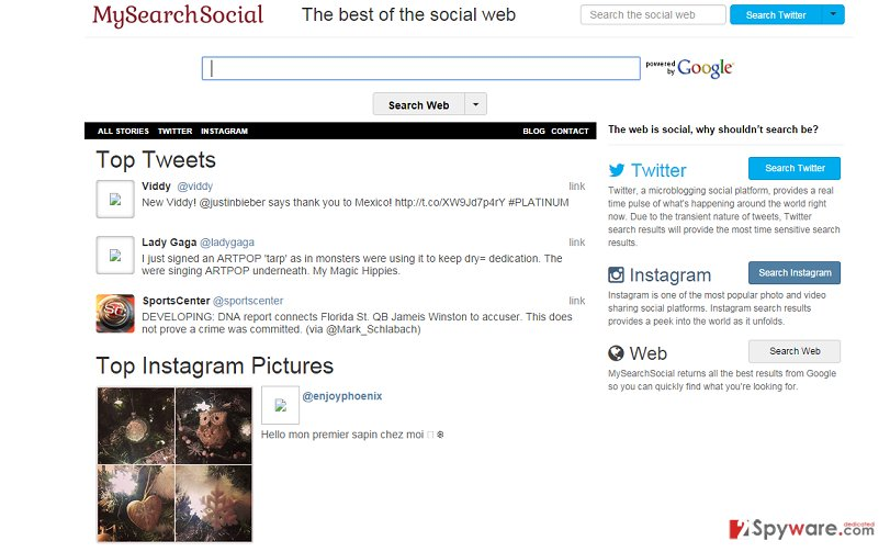 MySearchSocial.com redirect snapshot