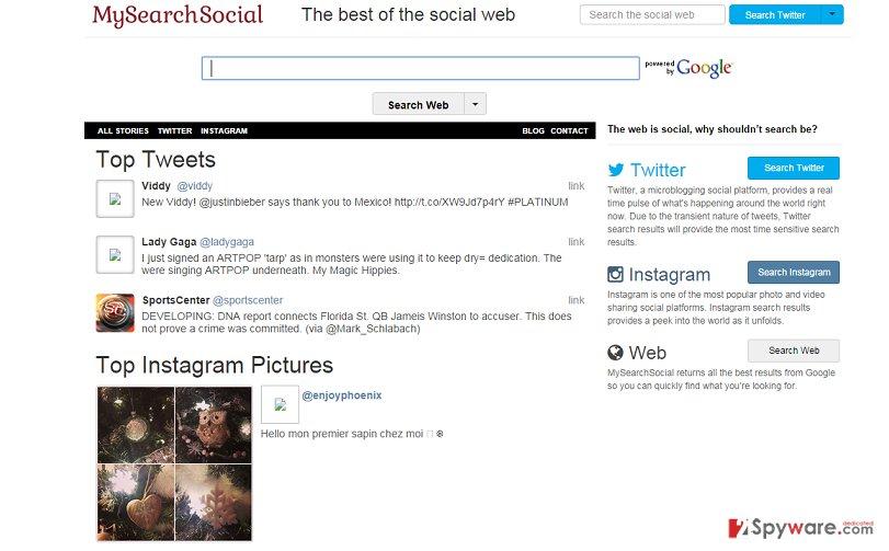 MySearchSocial.com redirect snapshot