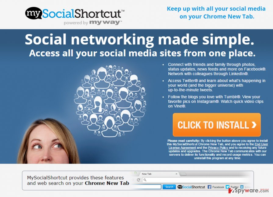 MySocialShortcut Toolbar redirects
