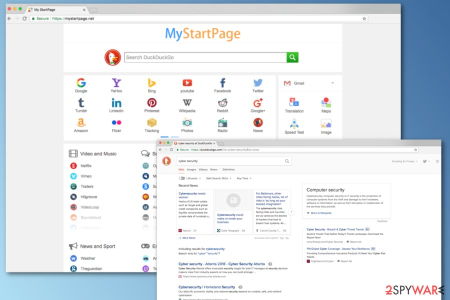 Mystartpage.net screenshot