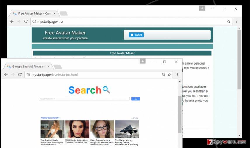 Screenshot of Mystartpage4.ru virus