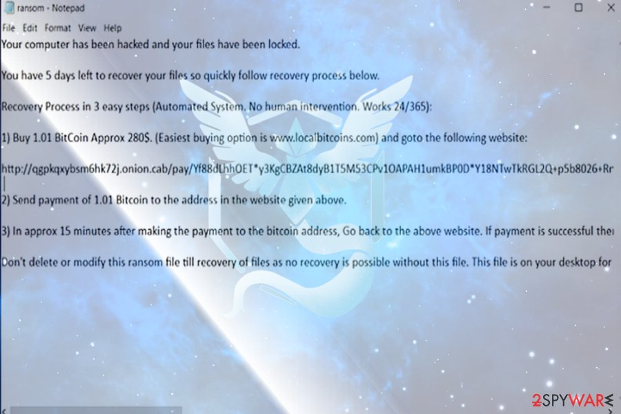 The image of Mystic ransomware