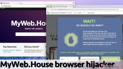 Screenshot of MyWeb.House redirect virus