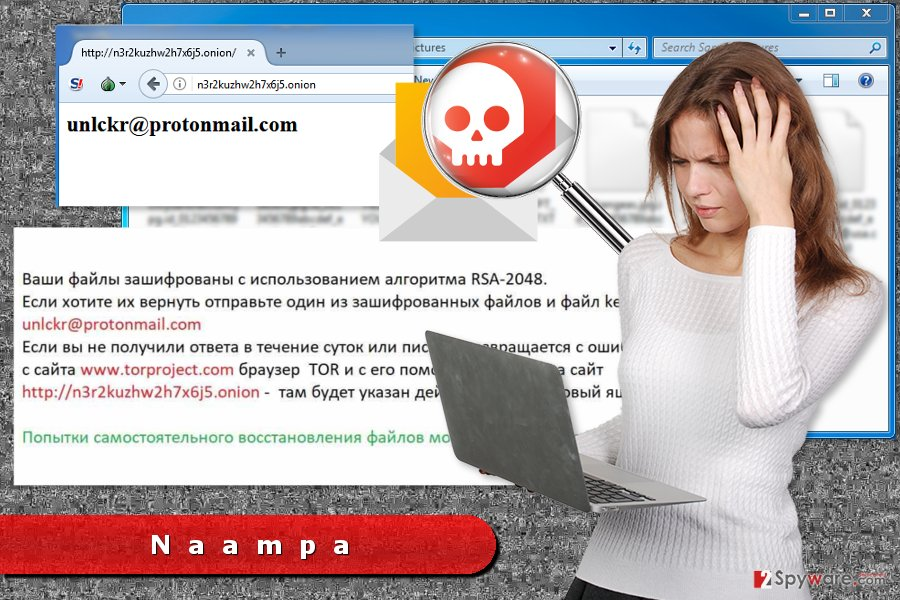 Illustration of Naampa ransomware virus