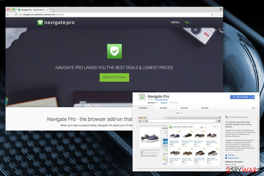 The image of Navigate Pro adware