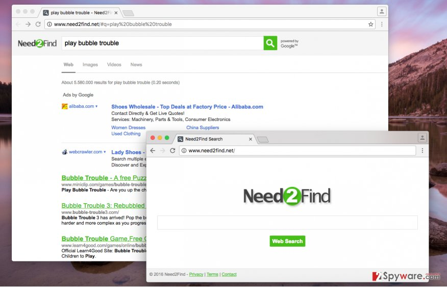 Need2Find.net redirect virus serves many sponsored results