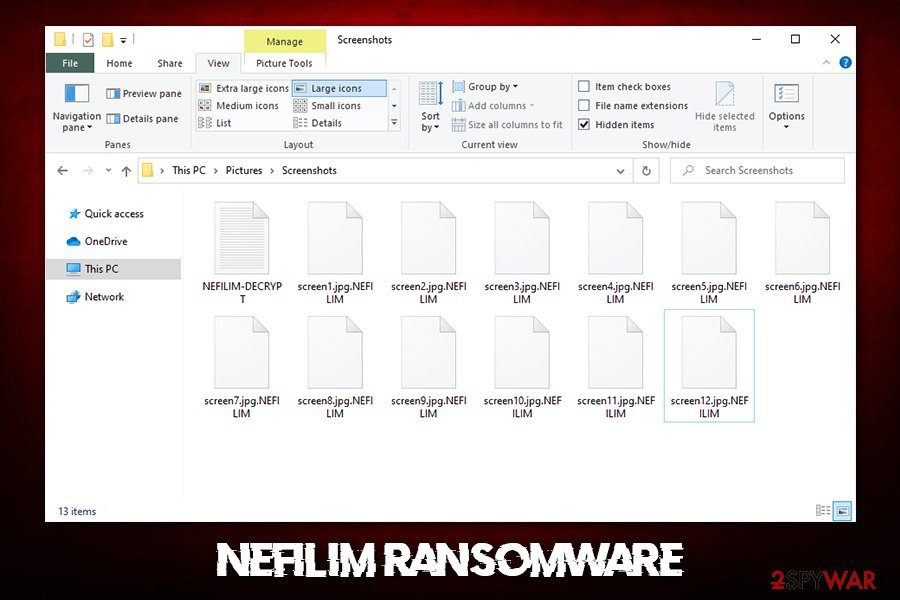 Nefilim ransomware encrypted files