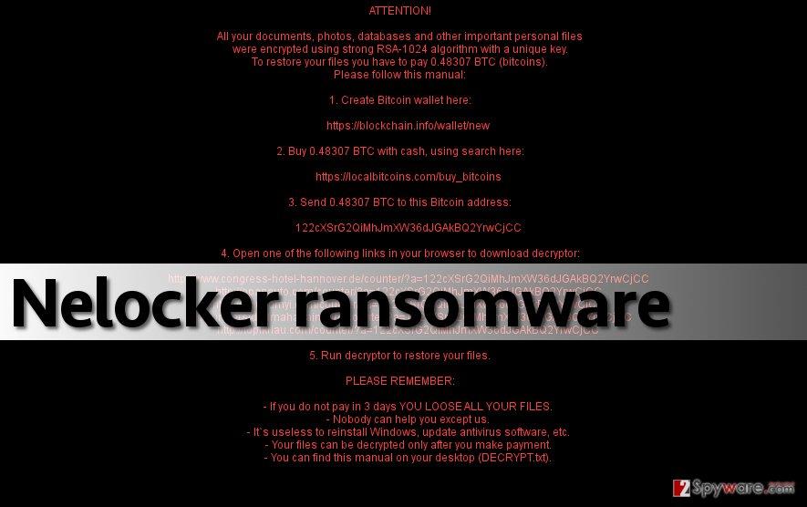 Screenshot of Nelocker malware