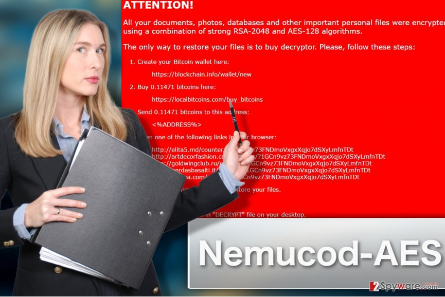 Illustration of Nemucod-AES ransomware virus