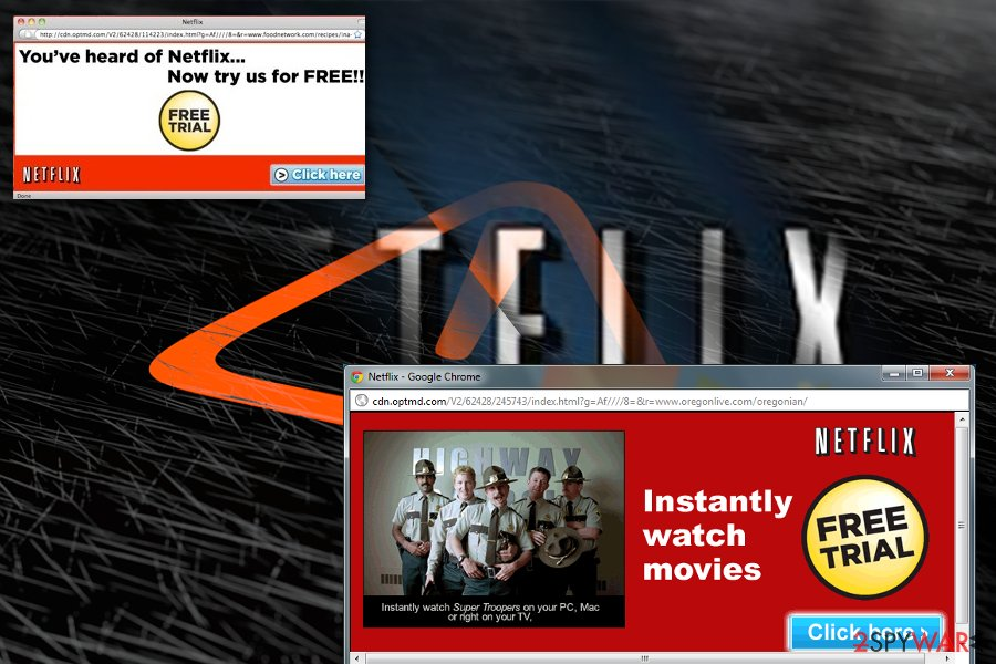 The image displaying Netflix pop-ups