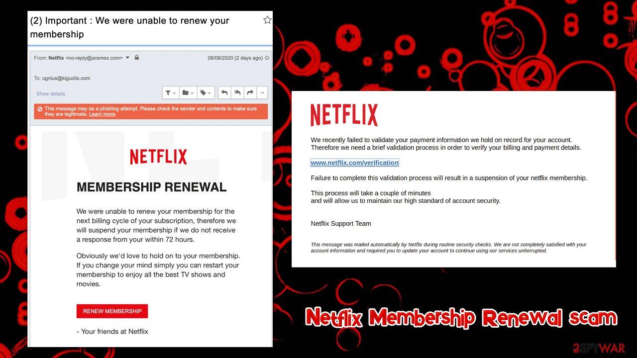 Netflix Membership Renewal scam