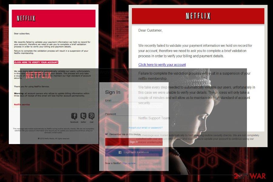 Netflix scam examples