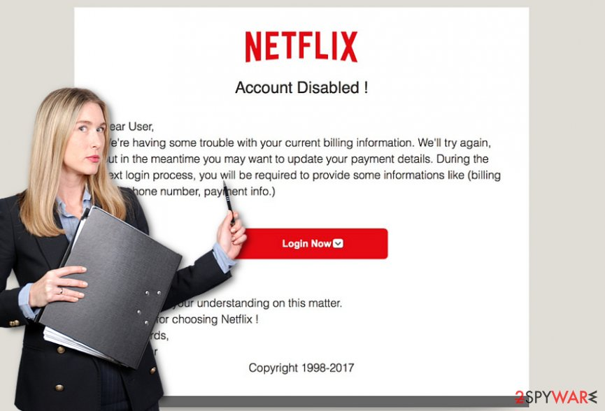 The screenshot of Netflix scam
