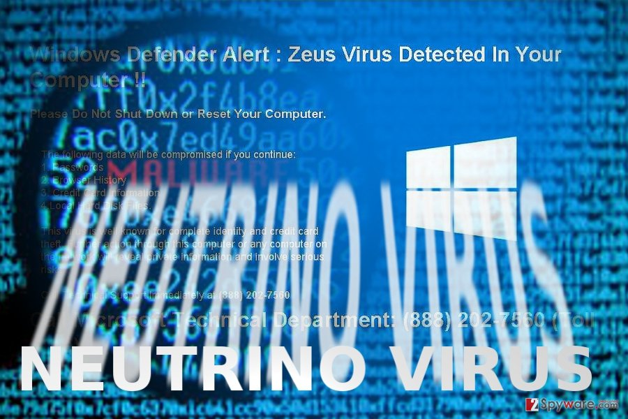 The image displaying Neutrino malware