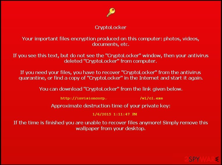 Cryptolocker fake warning