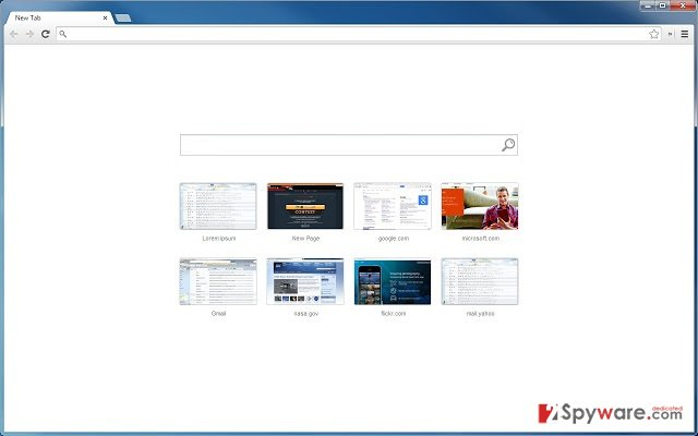 New Tab Assistant virus snapshot