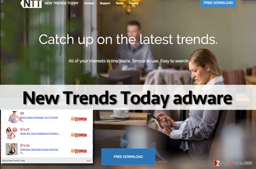 The official web page of New Trends Today adware