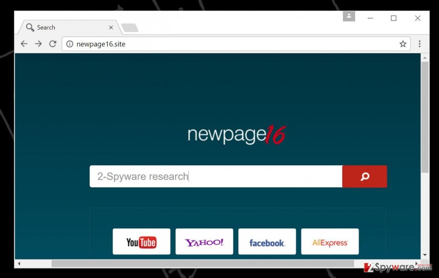 Newpage16.site redirect virus in a browser
