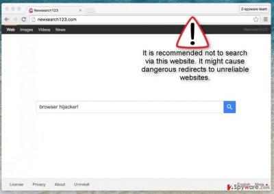 Newsearch123.com hijacker screenshot