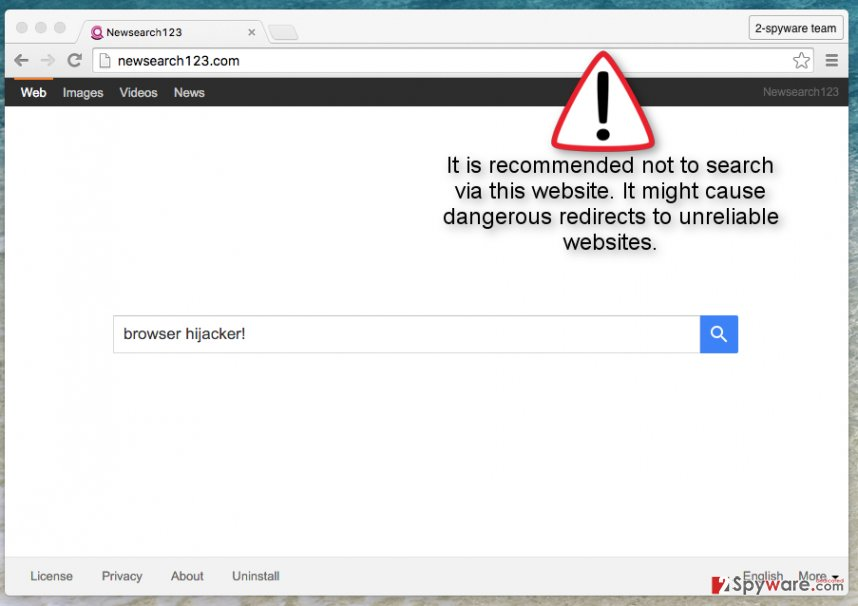 Newsearch123.com hijacker screenshot