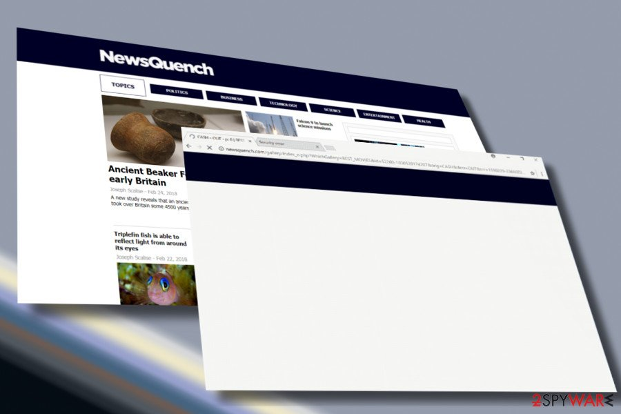 Showing Newsquench.com adware