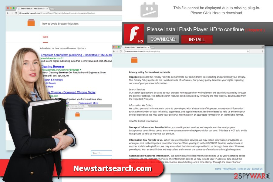 The picture of Newstartsearch.com virus