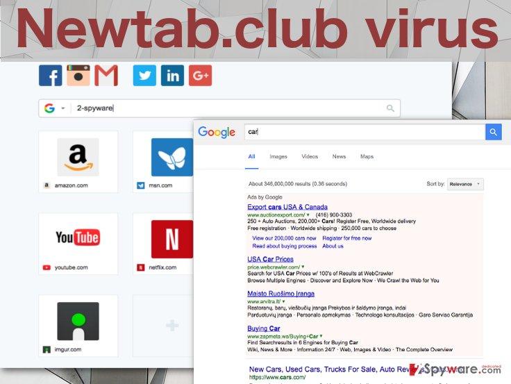 Image of the Newtab.club virus