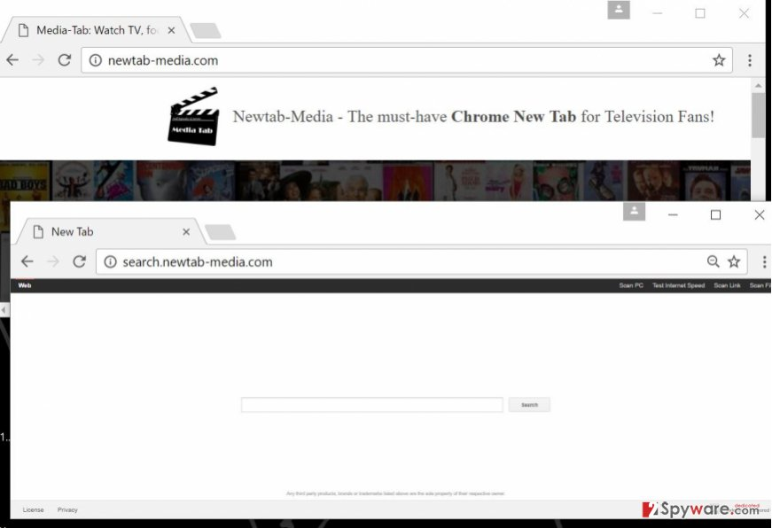Screenshot of Newtab-media.com and its installation page