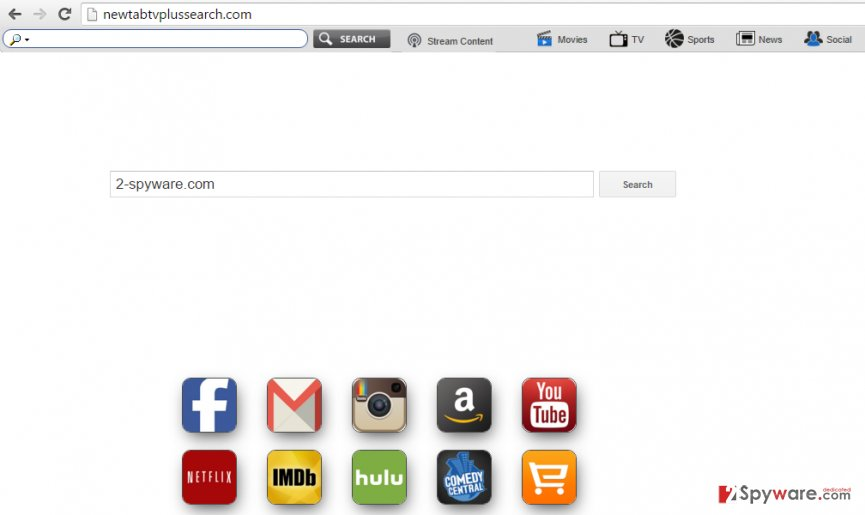 the picture showing Newtabtvplussearch.com browser hijacker