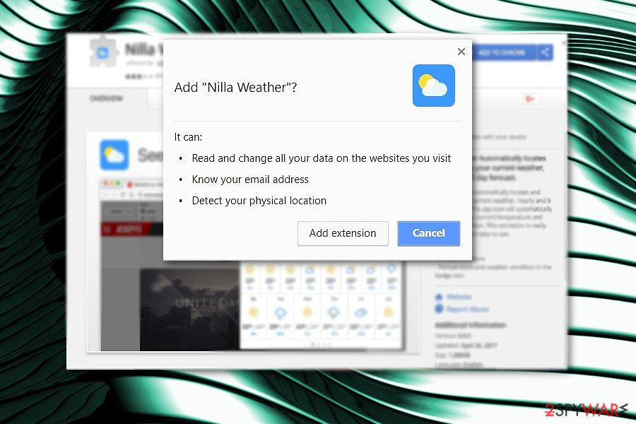 The picture displaying Nilla Weather add-on