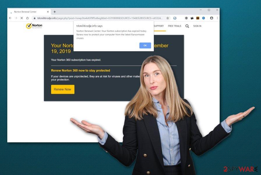 Norton renewal center scam