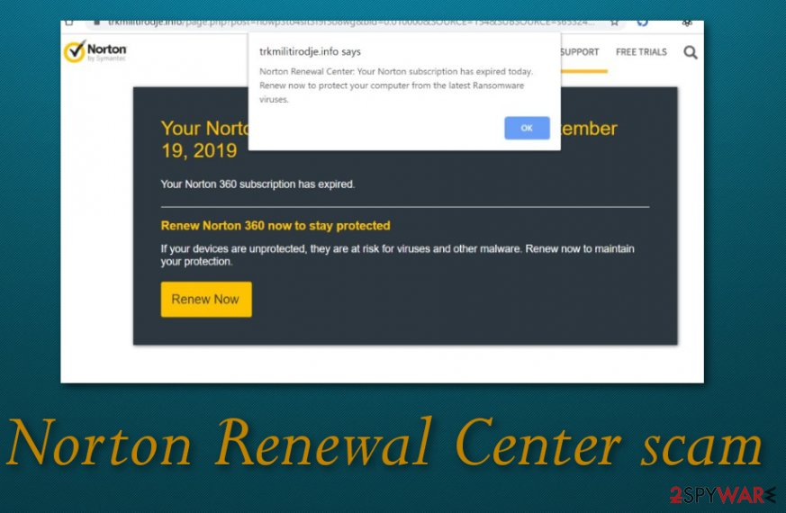 Norton renewal center pop-up