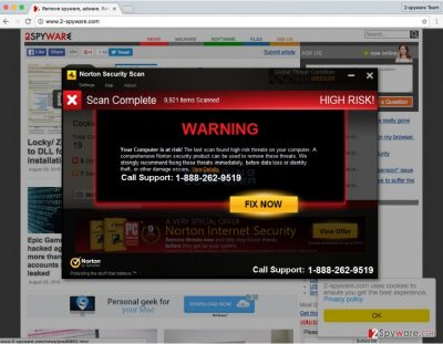 A screenshot of the Norton Security Scan Tech Support scam virus