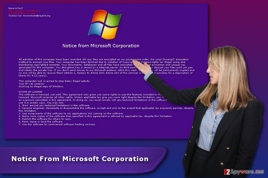 """Notice From Microsoft Corporation"" ransomware virus"