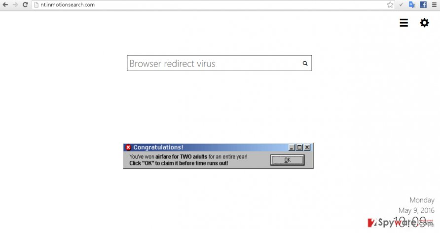 Screenshot of search engine brought by Nt.inmotionsearch.com virus