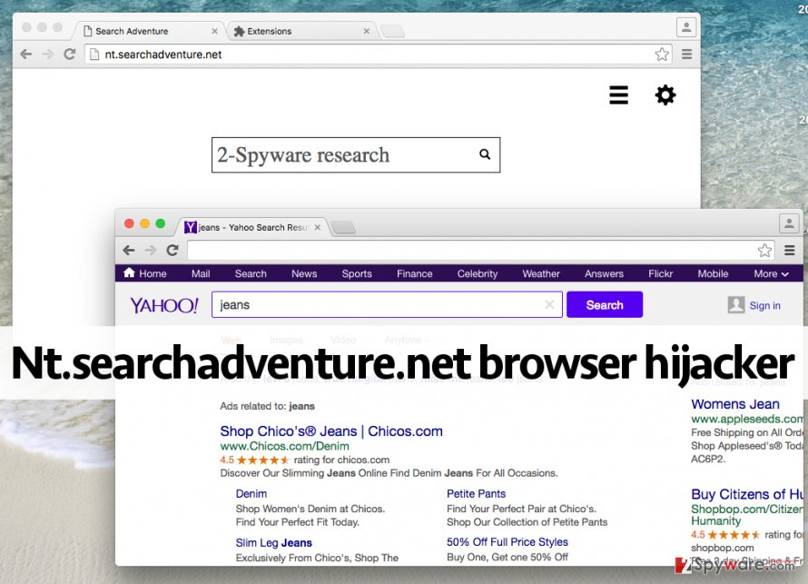 Untrustworthy search engine that Nt.searchadventure.net browser hijacker provides